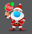 cute santa claus wearing a surgical protective vector image vector image