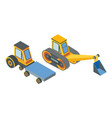 excavator and transport with cargo place belt vector image