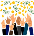 falling money with raised businessmen hands vector image