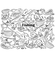 Fishing colorless set vector image vector image