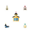 flat icon church set of traditional catholic vector image vector image
