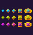 gems award progress golden amulets set vector image vector image