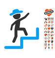 gentleman steps upstairs icon with dating bonus vector image vector image