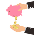 Gold Coins Falling From Piggy Bank to Man Hand vector image