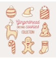 Hand drawn gingerbread cookies set Doodle holiday vector image