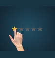hand with star rating evaluation system an vector image