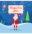 happy new year banner in santas hand in forest vector image