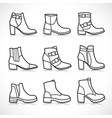 isolated boots icons set vector image