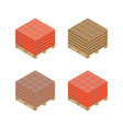 isometric wooden pallet with bricks vector image vector image