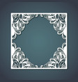 laser cutting of square frame with floral vector image vector image