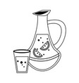 lemonade juice and cup in black and white vector image vector image