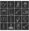 Line Grey Icons Gardening Equipment vector image vector image