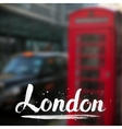 London calligraphy sign on blurred photo vector image vector image