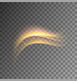 magic golden light effect with curve trail vector image vector image