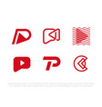 modern professional monogram set p play in red vector image