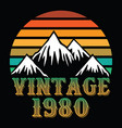 mountain vintage 1980 vector image