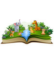 open book with animal farm cartoon playing in the vector image