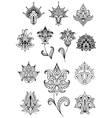 Paisley design elements with outline indian vector image vector image