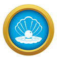 pearl in a sea shell icon blue isolated vector image vector image