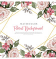 pink watercolor floral background vector image vector image