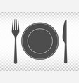plate with fork and knife on transparent vector image