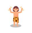 Prehistoric cave boy in animal skin holding bones
