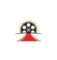 red carpet filmstrip award movie film cinema logo vector image vector image