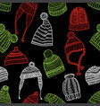 seamless background of the knitted caps vector image