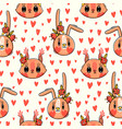 seamless pattern with faces bunny and squirrel vector image