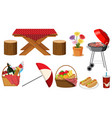 set picnic items on white background vector image vector image