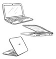 set sketch laptops closed and open back vector image vector image