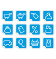 shopping icon set on stickers vector image vector image