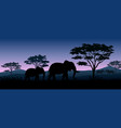 silhouette animals savannas in the night vector image vector image