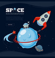 space travel background science discovery to moon vector image