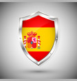 spain flag on metal shiny shield collection vector image vector image