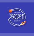 startup business 2021 new year rocket launch vector image