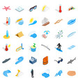 summer rest icons set isometric style vector image vector image