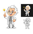 thinking old man professor vector image vector image
