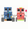 two cheerful cute robot in love vector image