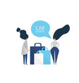two women with shopping bags talking to each other vector image vector image
