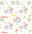 vintage bikes with flowers and balloons seamless vector image
