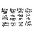 wedding lettering set modern calligraphy vector image vector image