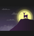 silhouette deer standing on cliff in night with vector image