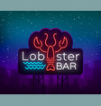 lobster neon logo icon emblem vector image