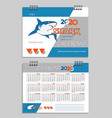 2020 desk calendar template with a shark vector image vector image
