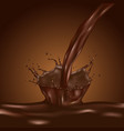 3d brown splashing chocolate liquid chocolate vector image vector image