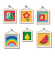 a set of cute wall paintings for kindergarten vector image vector image