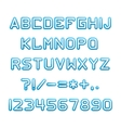 Blue alphabet with shadow vector image