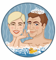 boy and girl in foamy water vector image