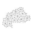 burkina faso map of polygonal mosaic lines network vector image vector image